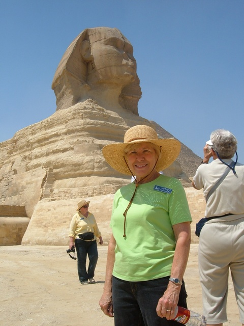 Mary Bierman standing in front of the Sphinx Sept. 2006