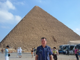 Daniel Bierman standing in front of one of the Pyramids in Egypt